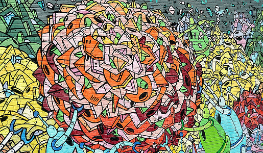 red and multicolored abstract wall graffiti