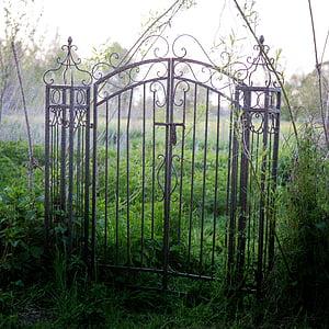 gray metal gate