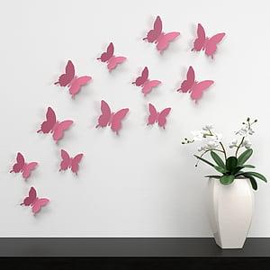 pink butterflies paper cutout wall decors
