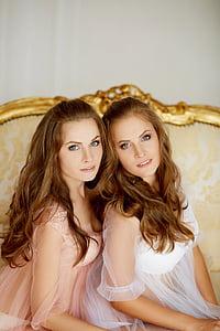 twins, girls, model, blue eyes, beauty, nightgown