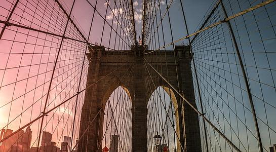 brown bridge during sunset