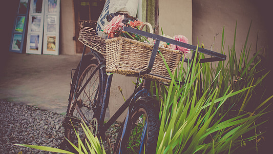 black commuter bike with basket