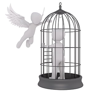person in black metal cage near angel illustration