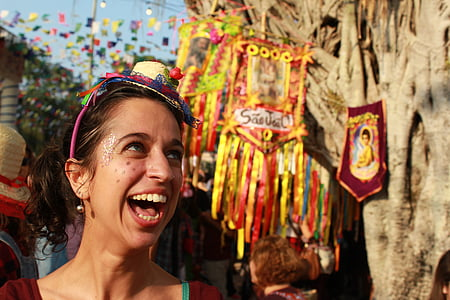 laughing woman at daytime selective focus photography
