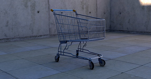 gray shopping cart on gray tile floor