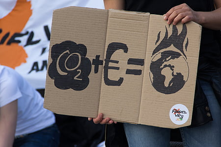 person holding cardboard signage