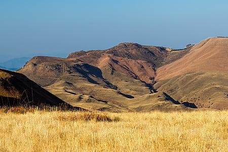 brown field near green hills at daytime