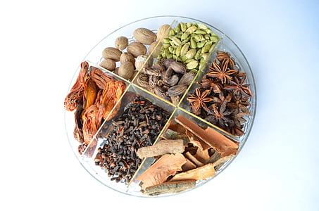 assorted spices on glass plate
