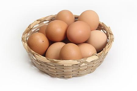 brown egg lot on beige wicker basket