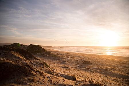 beach shore during golden time