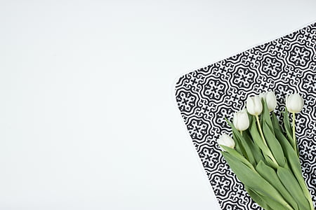 white flowers on white and black surface
