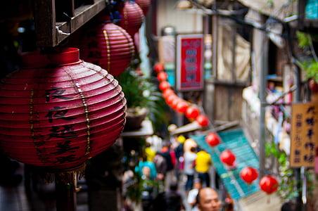 selective focus shot of Chinese paper lantern hanging