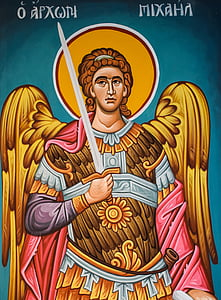 white and brown angel holding sword illustration
