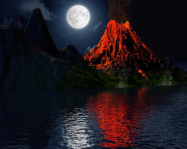 photography of erupted volcano at nighttime