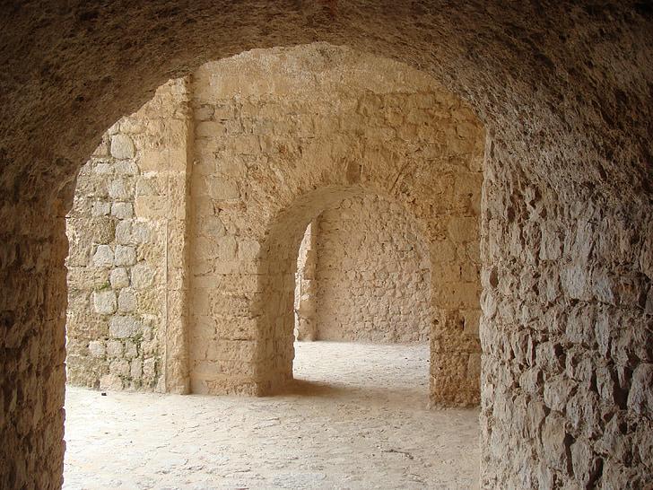 photo of beige brick walls