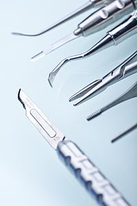 gray stainless steel medical tools