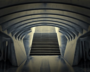 architecture photography of staircase