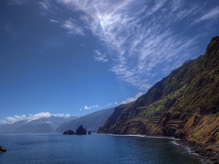 landscape photo of mountain and ocean
