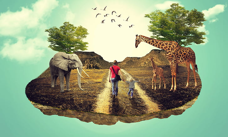 woman and child walking near giraffe and elephant graphic poster
