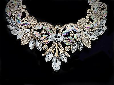 clear gemstone bib necklace