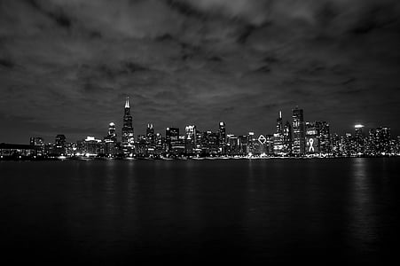grayscale panorama shot of city buildings