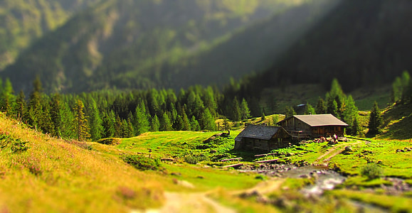 selective focus photography of house near mountain at daytime
