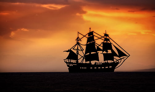 silhouette of galleon ship