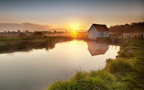 landscape photography of pond