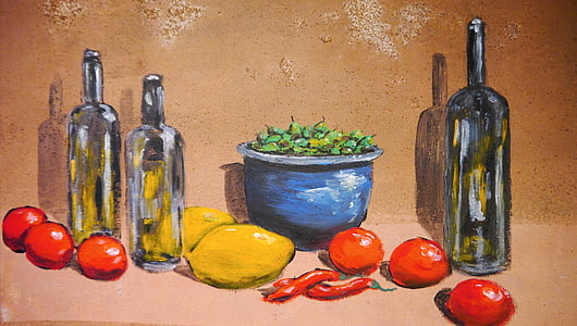 variety of fruits with three bottles painting