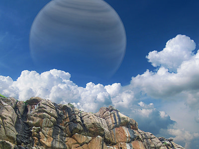 white and gray planet with clouds
