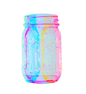 teal, yellow, and pink glass jar