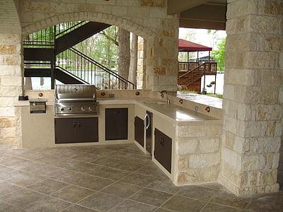 beige kitchen counter set