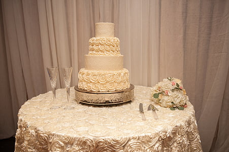 three tier brown coated cake