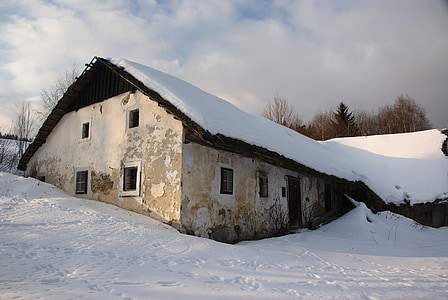 white painted house coated snow