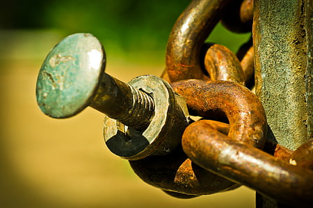 close-up photo of brass chain link and bolt