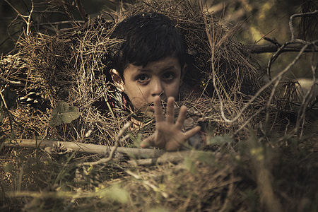 shallow focus photography of a boy under brown hay