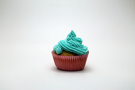 cupcake with teal icing