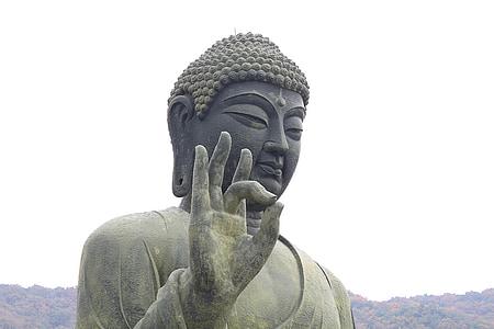 Buddha statue under gray sky