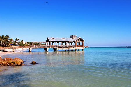 wooden dock beside the beach