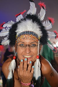woman wearing feather costume