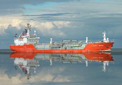 orange and white ship on ocean