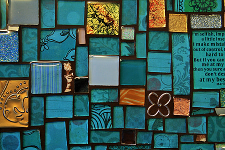 tray, mosaic, tiles, blue, handwork, art