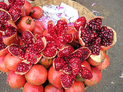 top view of pomegranate fruits