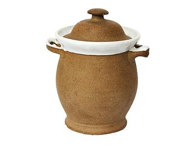 white and brown amphora vase