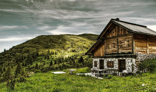 brown wooden house on mountain