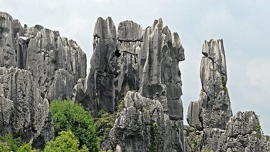 gray rock formation under gray skies