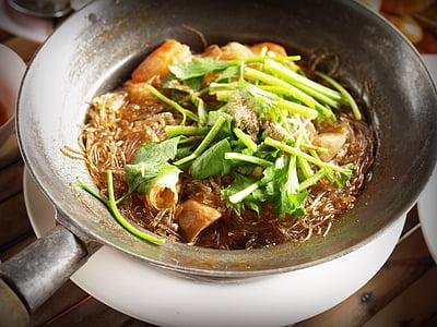 food dish on gray steel pan
