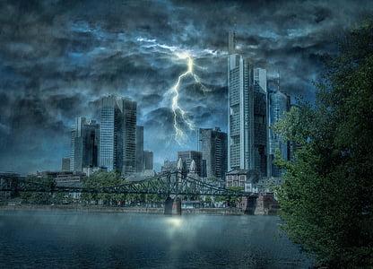 lightning between high-rise buildings