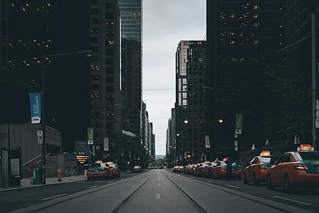 street scene, landscape, cabs, taxi, uber, architecture