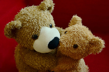 two brown bear plush toy on red textile